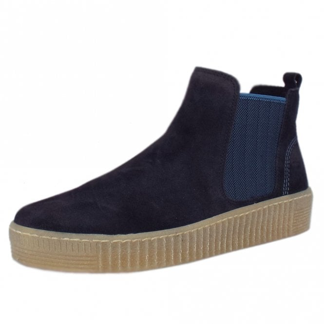 Gabor Lourdes Modern Sporty Short Winter Boots in Navy Suede