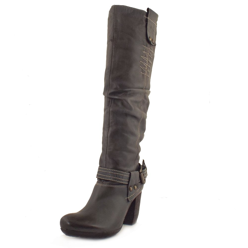 Manas Design | Roma Ladies Grey Leather Long Boots | Mozimo