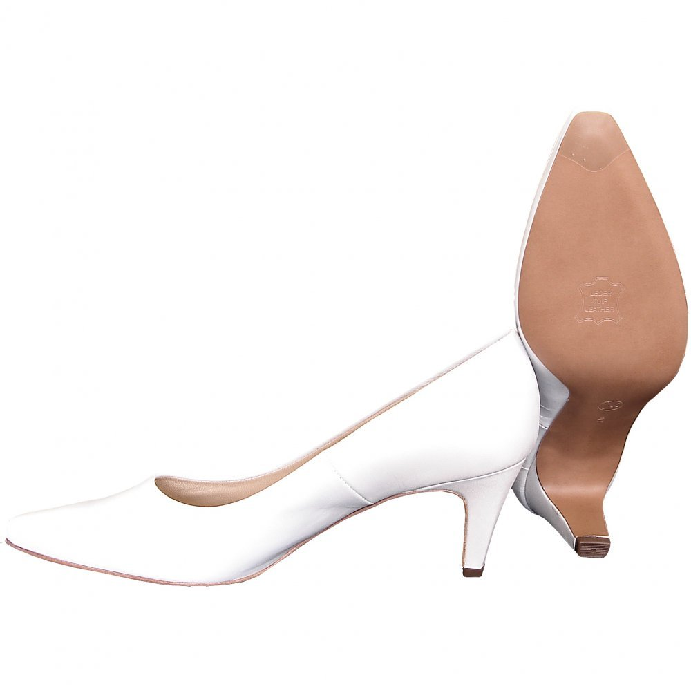 White Mid Heel Pumps - Is Heel