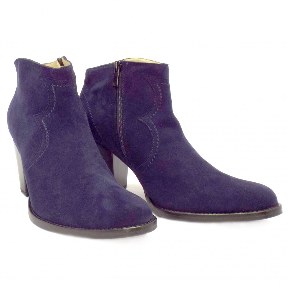 Cool  LADIES SANCHO NAVY BLUE SUEDE HEELED WOMENS ANKLE BOOT SIZE 3 8  EBay