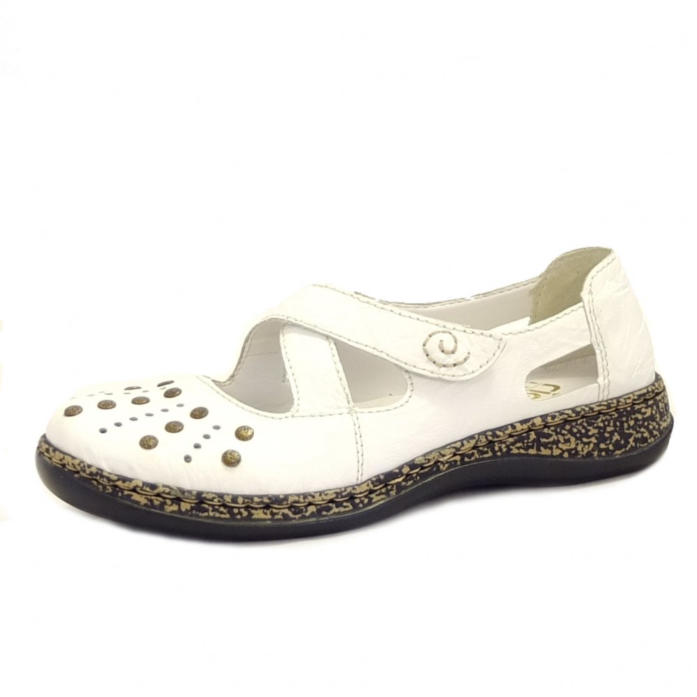 Rieker Shoes Massa White Leather Casual Ladies Shoes