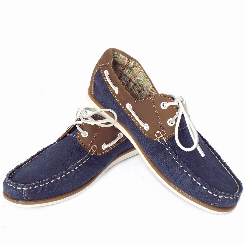Mens Navy Leather Boat Shoes