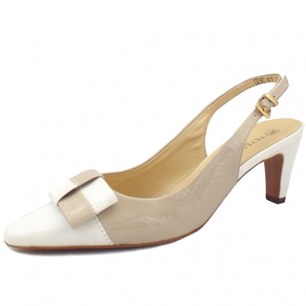 peter kaiser mea ladies slingback white patent heels mozimo. Black Bedroom Furniture Sets. Home Design Ideas