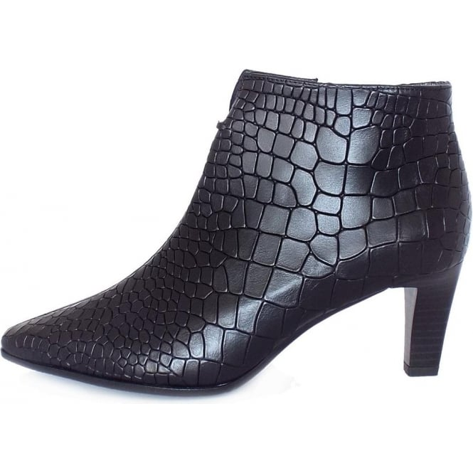 c6a1238b7bb35 Merita Mid Heel Pointed Toe Ankle Boots In Mock Croc Black Leather