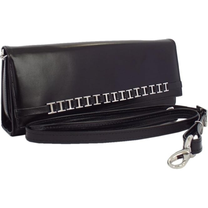 Peter Kaiser Mimi Women's Dressy Shoulder Clutch Bag in Black Leather