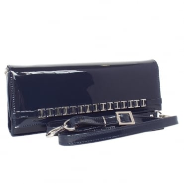 Mimi Women's Dressy Shoulder Clutch Bag in Navy Patent