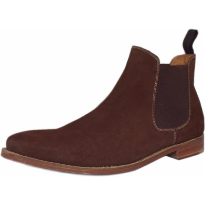 Paddington Mens Pull On Chelsea Boots in Brown Suede