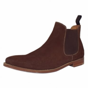 Paddington Men's Pull On Chelsea Boots in Brown Suede