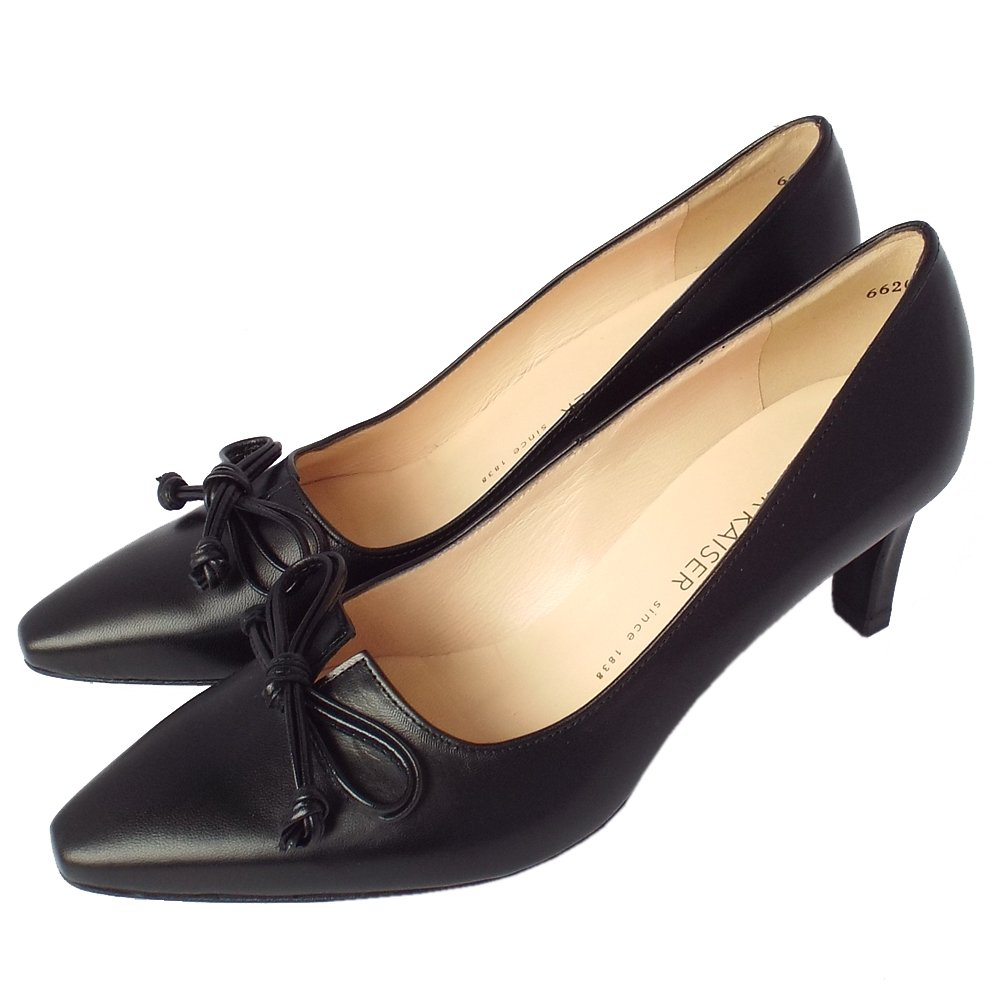 Black Leather Court Shoes Mid Heel