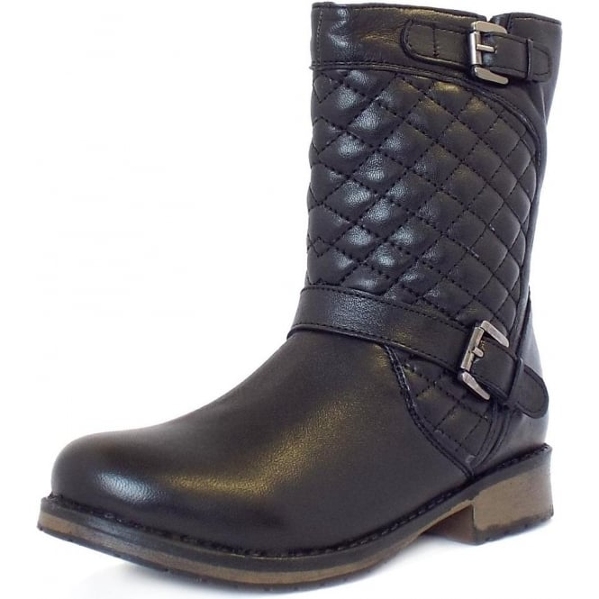 Lotus Monroe   Black Leather Biker Boots With Quilted Top   Mozimo : quilted biker boots - Adamdwight.com