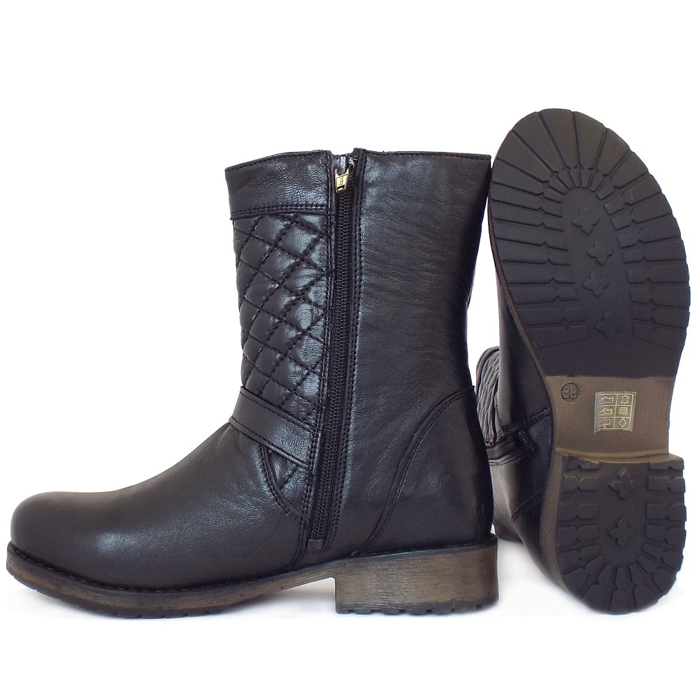 lotus black leather biker boots with quilted top