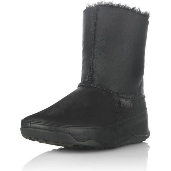 ddd960cb174 FitFlops -Mukluk Leather FitFlop Boot in Black from Mozimo