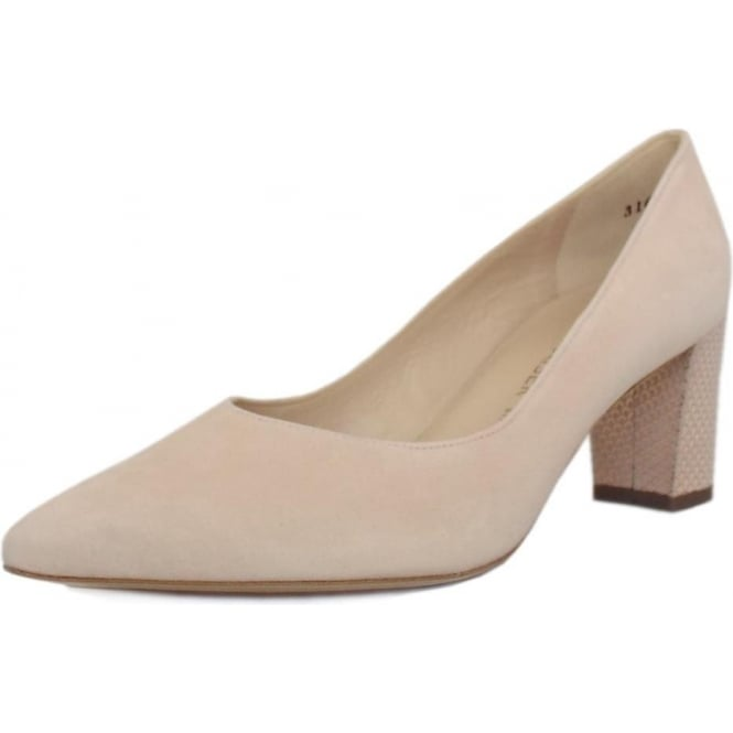 Peter Kaiser Naja Trendy Block Heel Pointed Toe Court Shoes in Powder Suede