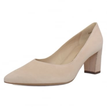 Naja Trendy Block Heel Pointed Toe Court Shoes in Powder Suede