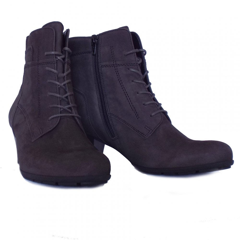 gabor national low heel ankle boots in grey suede mozimo