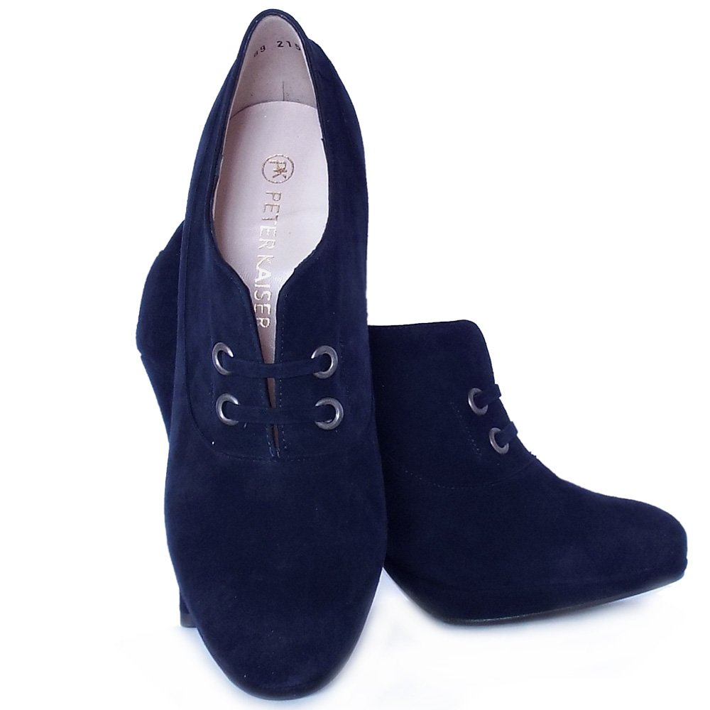 peter kaiser nelana high top high heel shoes in navy suede mozimo. Black Bedroom Furniture Sets. Home Design Ideas
