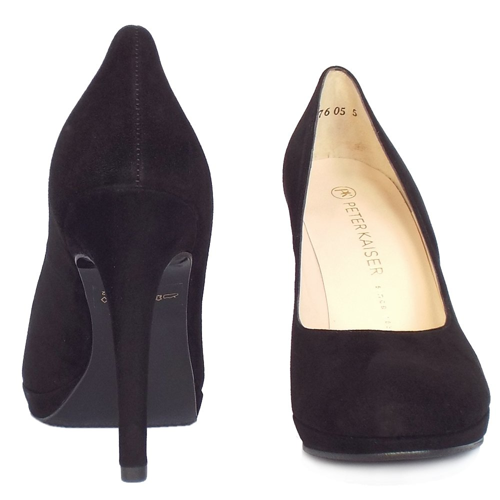 peter kaiser nevena women 39 s high heel court shoes in black suede. Black Bedroom Furniture Sets. Home Design Ideas