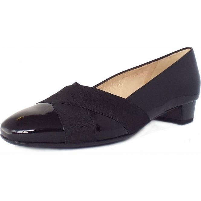 291a141a90d37 Peter Kaiser Nigela | Wide Fit Low Heel Smart Shoes in Black Patent