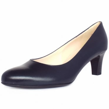 Nika Classic Court Shoes in Navy Leather