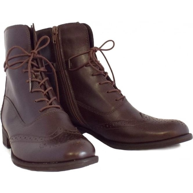 Gabor Nikki Lace Up Brogue Short Boots in Brown