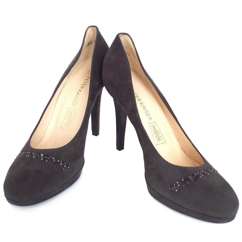 kaiser nikola carbon grey suede court shoes