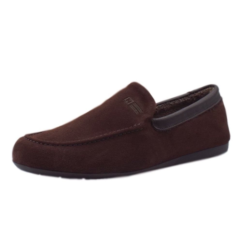 Men's luxury mocca suede slippers