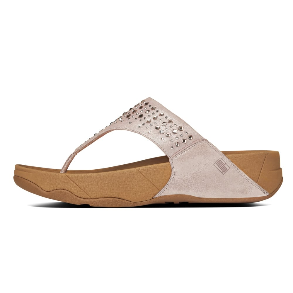 Fitflop Novy Nude Suede Women S Toe Post Sandals In Nude