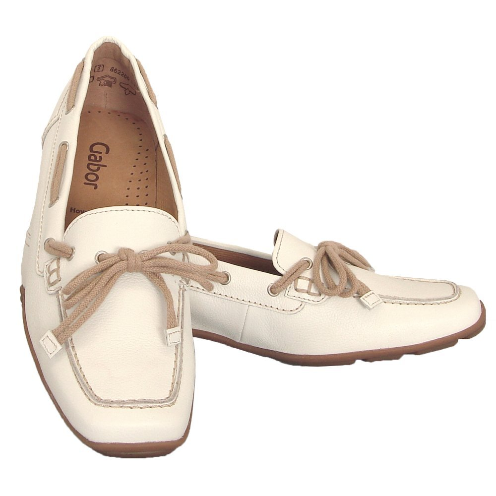 gabor shoes obern womens loafer shoe in white leather