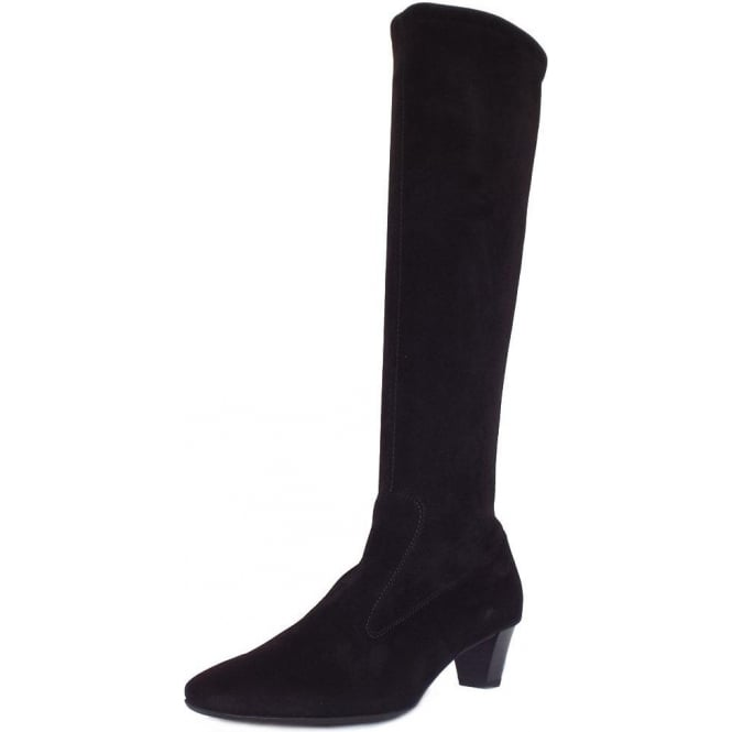 4e6c37cf4747 Ofela Women  039 s Pull On Black Suede Stretch Boots