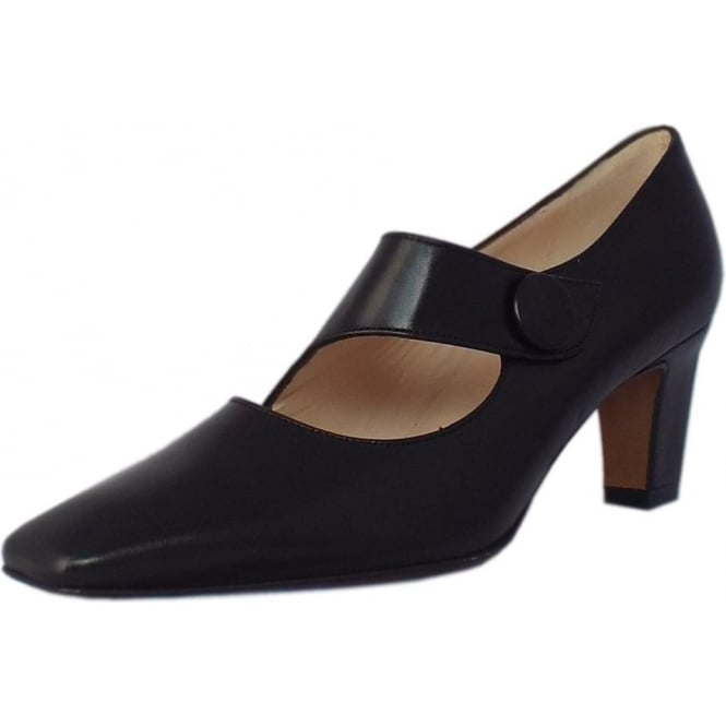 Peter Kaiser Olga Mary-Jane Style Court Shoes in Black Leather