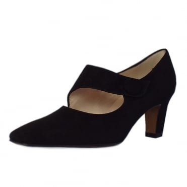 Olga Mary-Jane Style Court Shoes in Black Suede