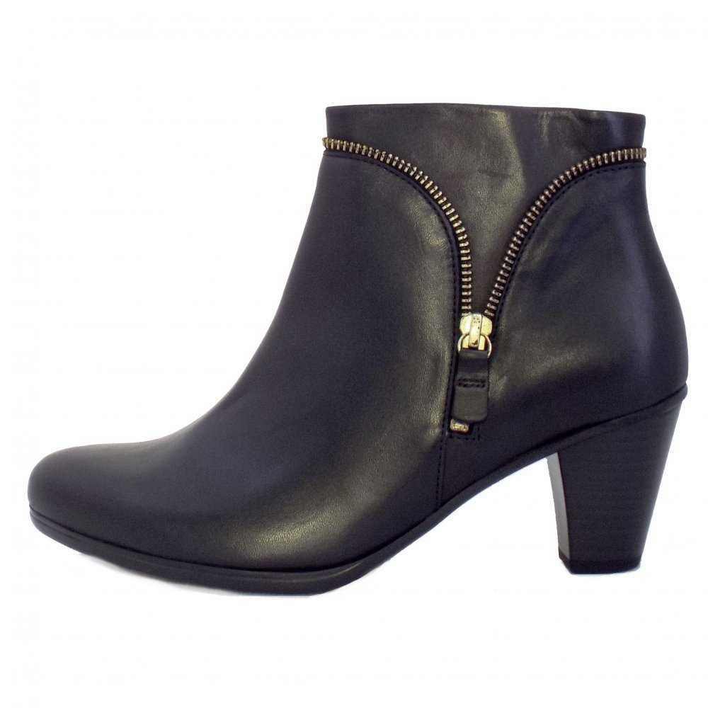 Gabor Boots | Onida Ladies Black Leather Ankle Boots | Mozimo