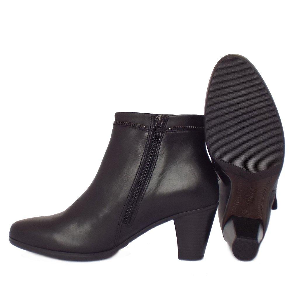 Gabor Boots | Onida Ladies Black Leather Mid Heel Ankle Boots | Mozimo