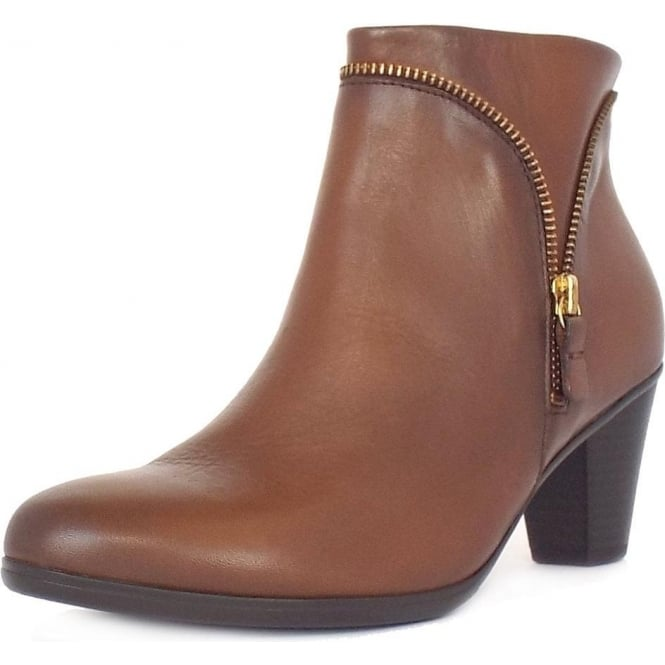 bd62b3a27 Gabor Boots | Onida Ladies Tan Leather Mid Heel Ankle Boots | Mozimo