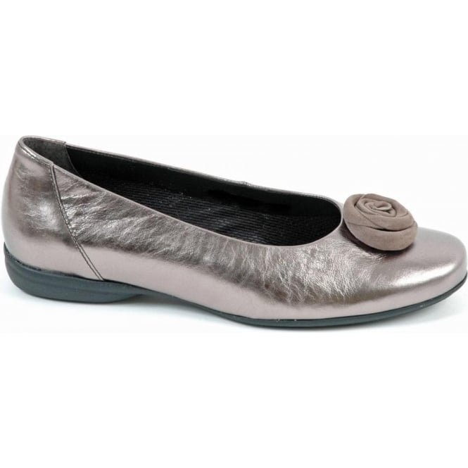 high fashion sold worldwide uk cheap sale Gabor Opera Classic Wide Fit Ballerina Pump In Pewter