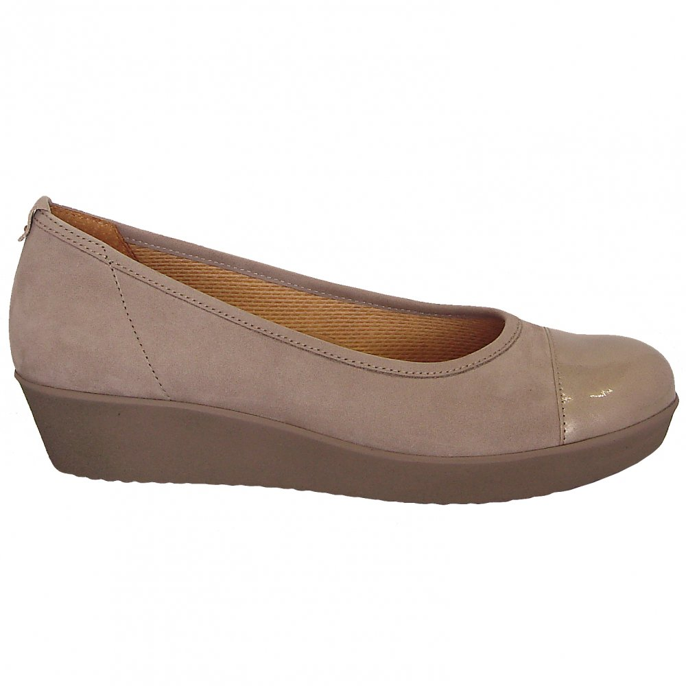Orient Wide Fit Wedge Pump Shoe In Taupe