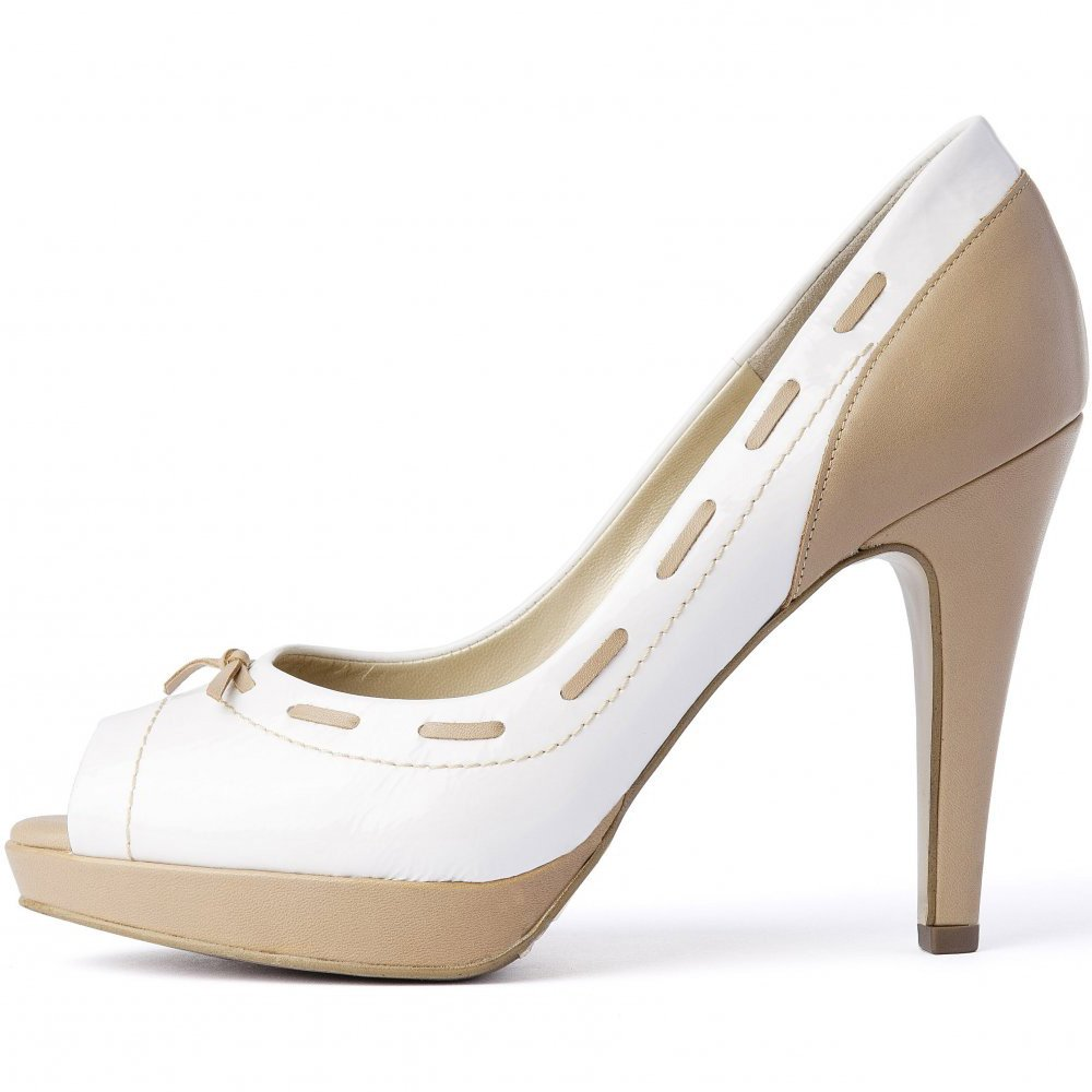 kaiser pallia white and beige peep toe high heel