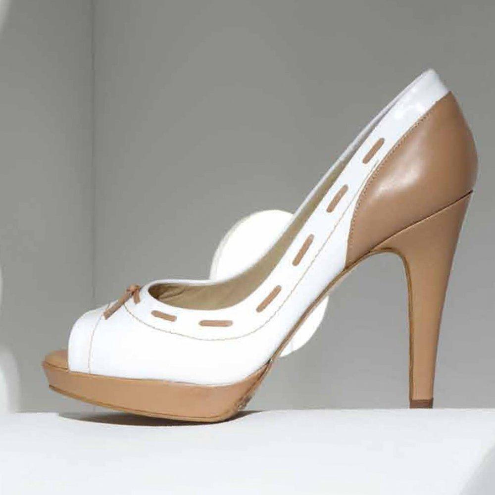 kaiser pallia white and beige peep toe high heel