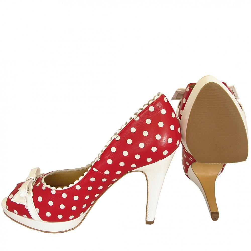 kaiser and white polka dot high heel