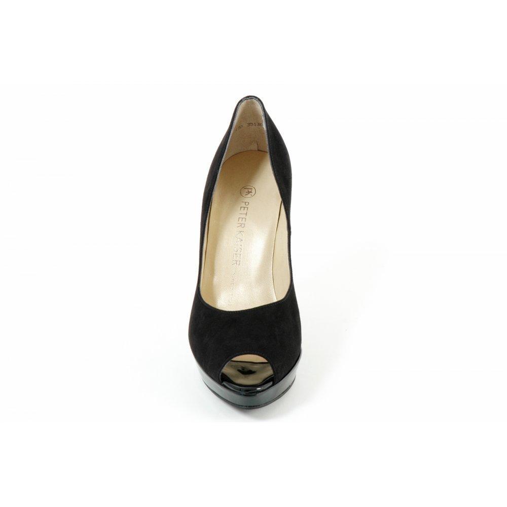 Peter Kaiser Patu | Pearlescent blue patent peep toe stilettos