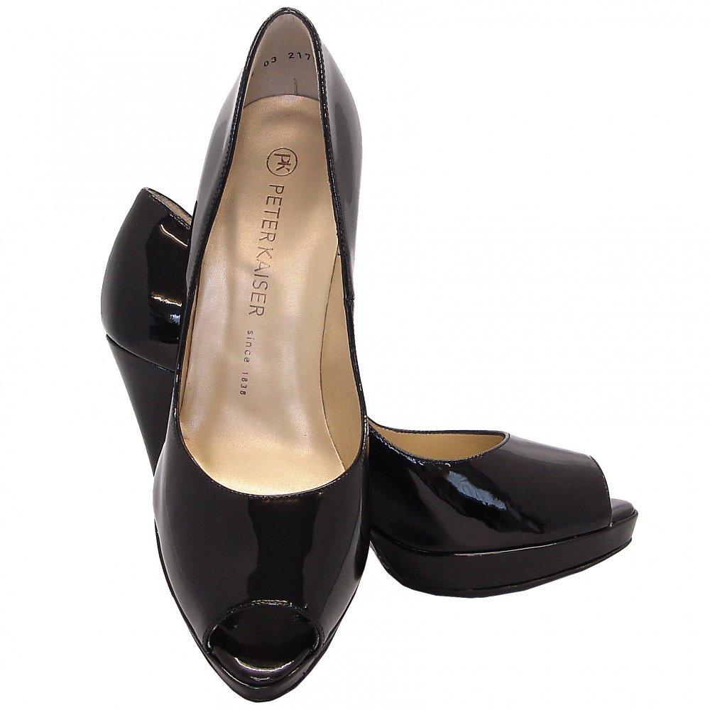 kaiser patu high heel peep toe shoes in black