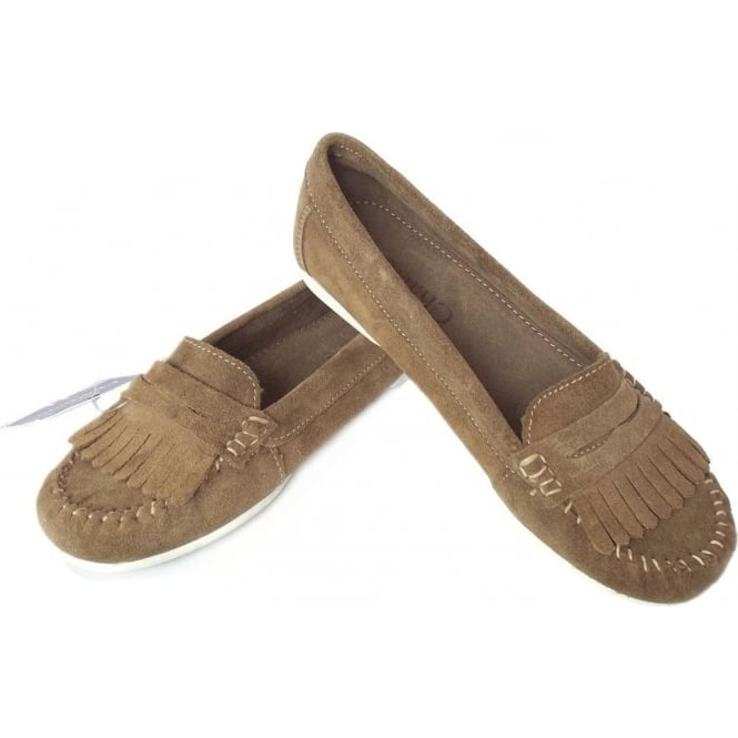 9b2dd197aa3 Penny Women  039 s Fringe Loafer in Taupe Suede