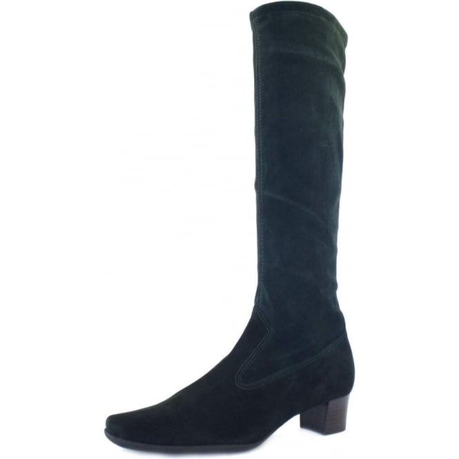 Peter Kaiser Aila Pull On Knee High Stretch Suede Boots in Bottle Green