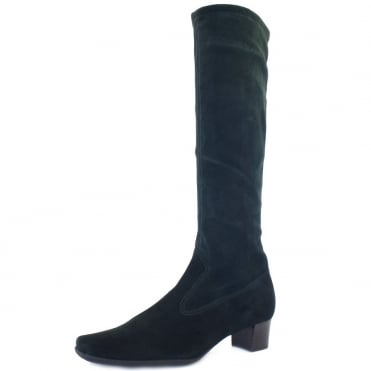 Aila Pull On Knee High Stretch Suede Boots in Bottle Green