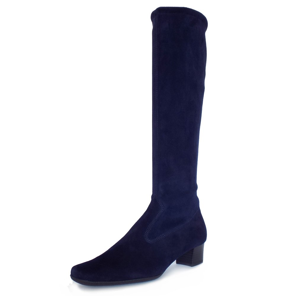 kaiser aila pull on stretch suede boots in navy