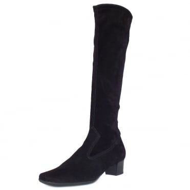 Aila Pull On Stretch Suede Knee High Boots in Black