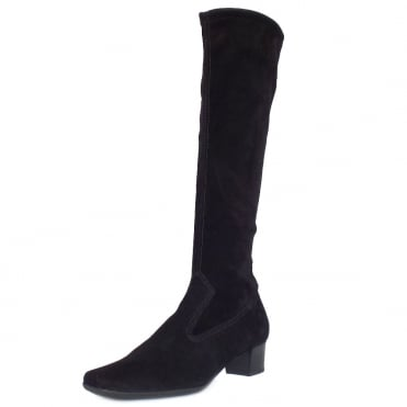 Peter Kaiser Aila Pull On Stretch Suede Knee High Boots in Black