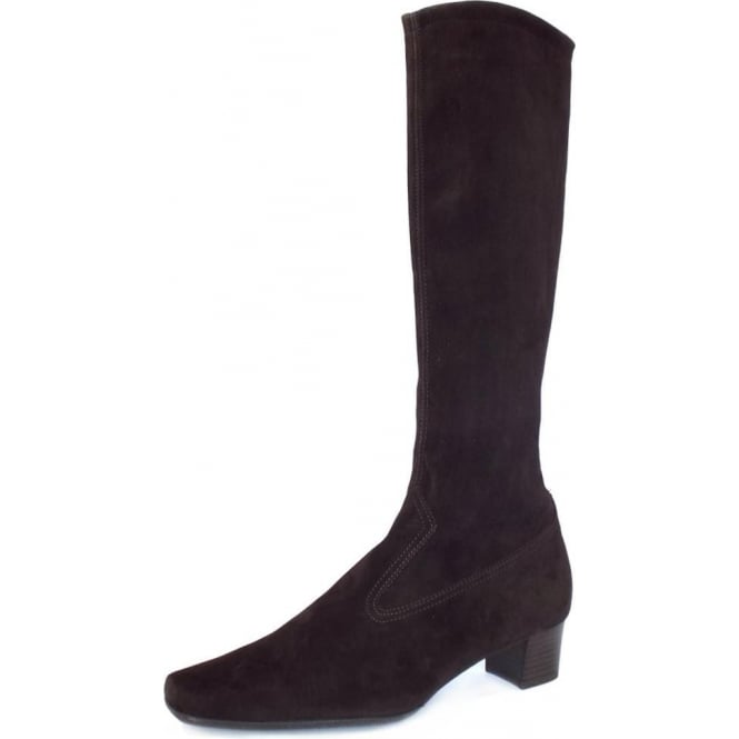 Peter Kaiser Aila Pull On Stretch Suede Knee High Boots in Dark Brown