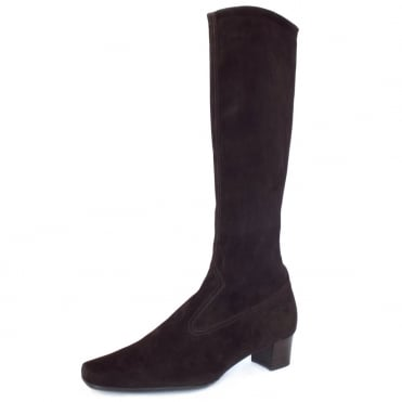 Aila Pull On Stretch Suede Knee High Boots in Dark Brown