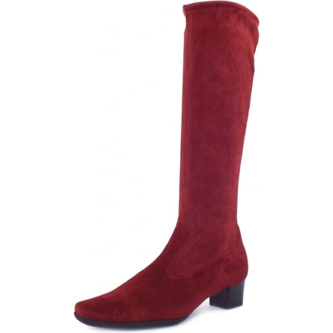 Aila Pull On Stretch Suede Knee High Boots in Dark Red